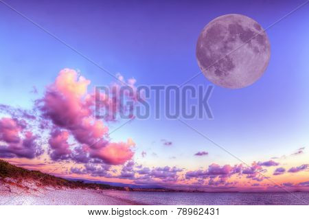 Huge Moon Over The Shore