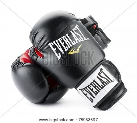 Everlast Boxing Gloves Ankara, Turkey - November 25, 2014:  A pair of black Everlast boxing gloves isolated on white background.