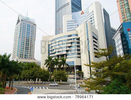 SHENZHEN - DEC 12: ShenZhen downtown on December 12, 2014 in Shenzhen, China. ShenZhen is regarded as one of the most successful Special Economic Zones.
