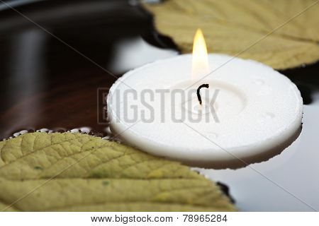 White candle floating with leaves on water in bowl