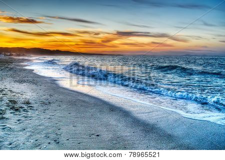 Colorful Sunset In Platamona Beach