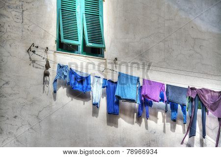 Laundry Line In A Rustic Building