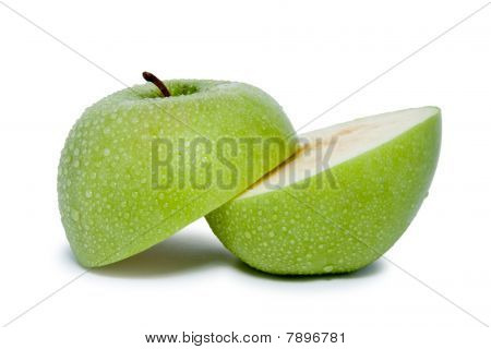 green wet and slited apple