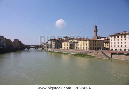 Florence Across The Arno River.