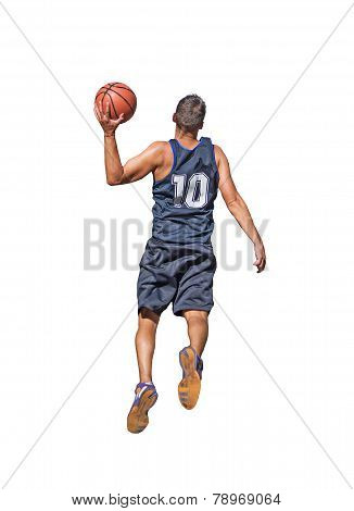 Basketball Player On White