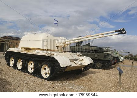 Russian made ZSU-57x2 self propelled anti-aircraft vehicle captured by IDF in Sinai on display