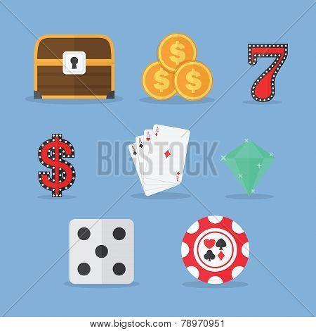 Set Of Gambling & Slot Machine Icons