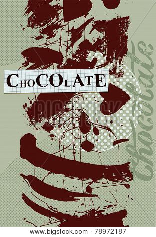 Chocolate background. Vintage poster design