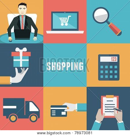 Vector Concept Of Internet Shopping. Order And Delivery. Flat Style Design