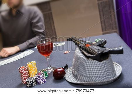 Dealer Spreading The Deck At Poker Game