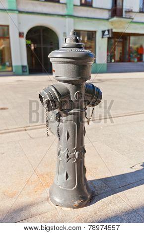 Grey Fire Hydrant In Lodz, Poland