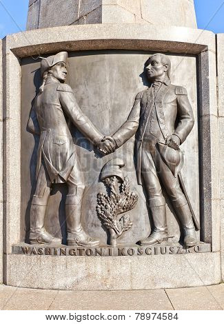 Bas-relief Of Washington And Kosciuszko In Lodz, Poland
