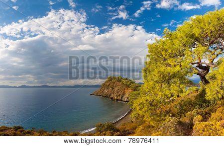 Beach at Mediterranean sea. Fethiye, Turkey