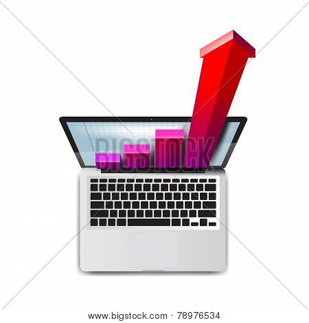 Business. Success in development. Laptop icon