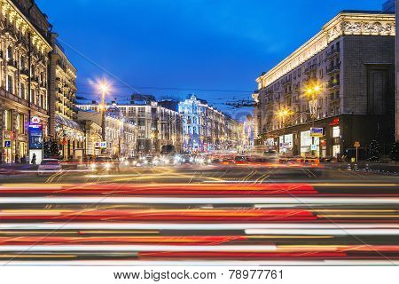 View Of Tverskaya Street From Manege Square In Winter Evening