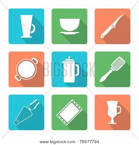 various flat style white dinnerware icons set