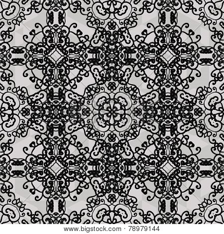 Monochrome ornament. Seamless stylized ornamental background of black color.