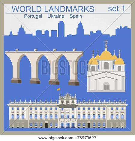 World Landmarks Icon Set. Elements For Creating Infographics