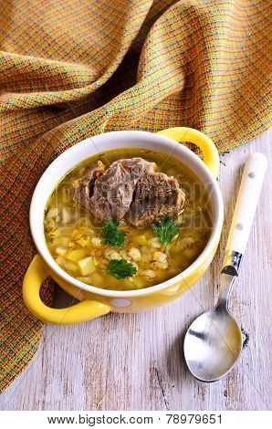 Soup With Pearl Barley And Meat