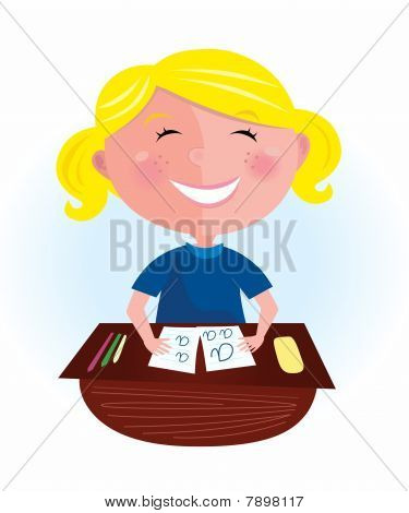 Back to school: Happy blond hair girl in classroom