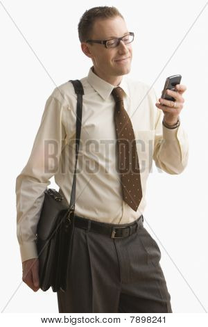 Businessman Texting on Cell Phone - Isolated