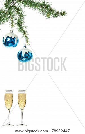 Blue Snow Roud Ball Ornaments For Christmas Tree With Two Glasses Of Champagne