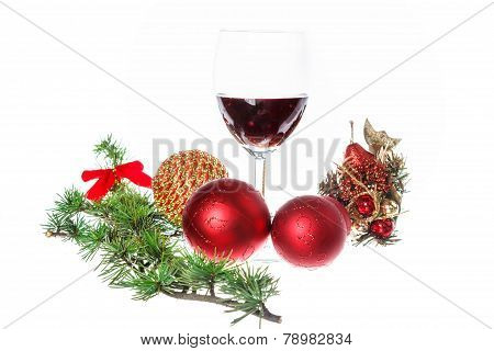Decoration With Green Pine Or Fir And Blue Snow Roud Ball Ornaments With Wine