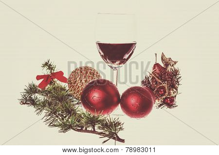 Green Pine Or Fir And Blue Snow Roud Ball Ornaments For Christmas Tree With One Glass Of Wine