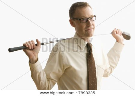 Businessman Holding Golf Club - Isolated