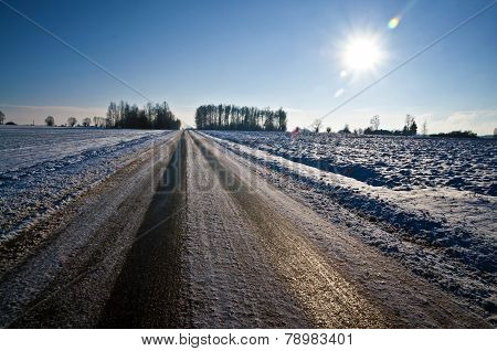 Black Ice On A Country Road - Slippery Conditions