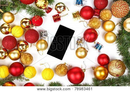 Mobile Phone With Christmas Gifts And Finery