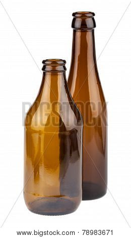 Two Empty Brown Bottles