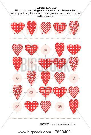 Picture sudoku puzzle with hearts