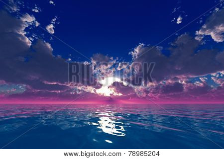 Rays In Clouds Over Ocean