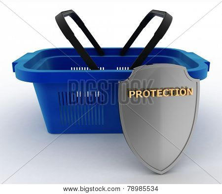 Shopping basket colorful and Shield. Concept of saving money. 3d render illustration on white background.