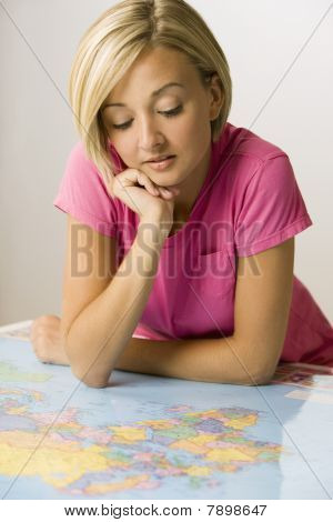 Woman Looking at Map