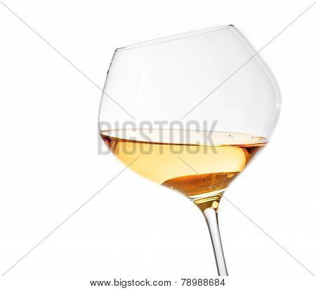 White Wine Glass Isolated With Space For Text