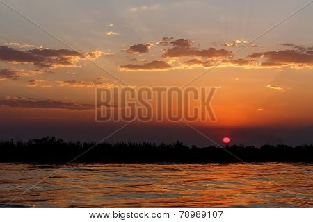 African Sunset On Chobe River
