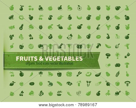 food. fruit and vegetables icon set