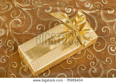 Detail Luxury Gift With Golden Ribbon
