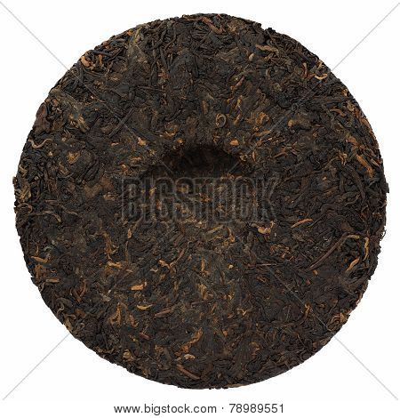 Ripe Puerh Cake Backside Isolated