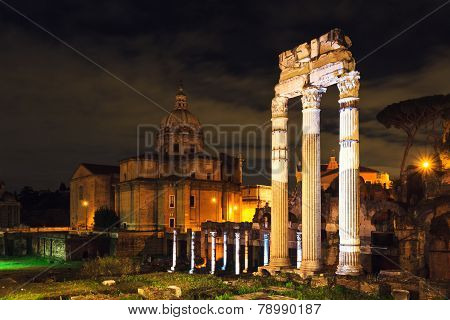 Forum Of Caesar At Night