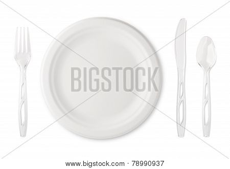 Paper Plate With Plastic Utensils