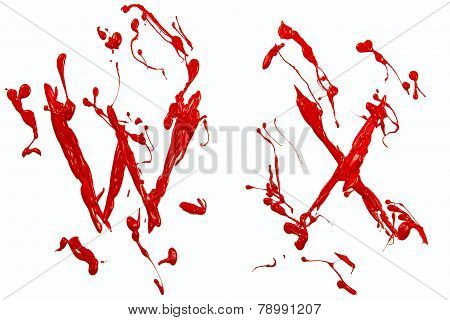 W And X Painted Red