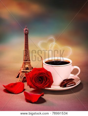 Photo of breakfast in Paris, beautiful morning in France, romantic still life, cup of coffee with piece of chocolate and fresh red rose on the table in cafe, honeymoon travel, Valentine day