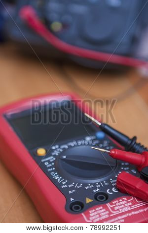 Digital Laboratory Tester Multimeter Device With Two Probes Connected