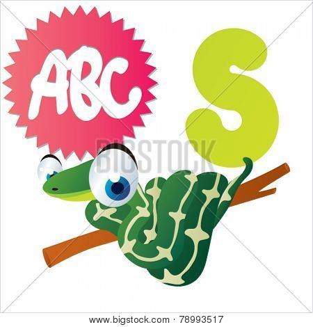 S is for vector cute cartoon isolated Snake