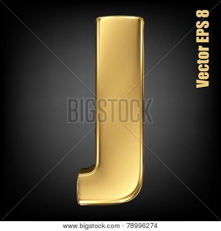 Vector letter J from gold solid alphabet. Uppercase golden font collection. EPS 8
