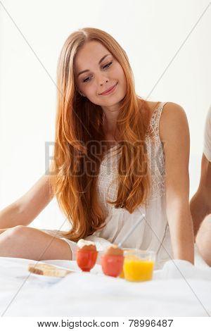 Women Eating Brakfast In Bedroom