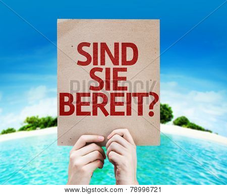 Are You Ready (in German) card with a beach on background